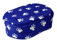 "PET BED 20"" Blue w. White Paw Prints Dog Cat Puppy Cushion Pillow Large"