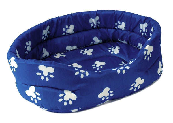 "PET BED 22"" Blue w. White Paw Prints Dog Cat Puppy Cushion Pillow X-Large"
