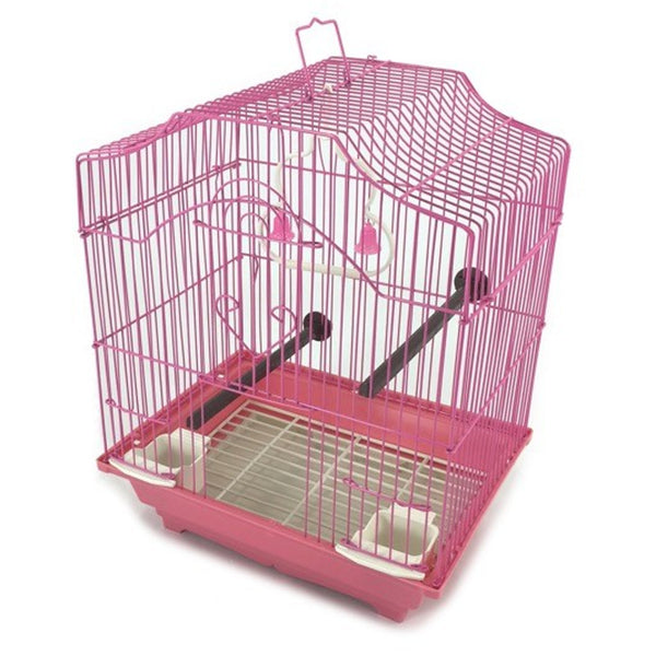 Pink 14-inch Small Parakeet Wire Bird Cage for Budgie Parakeets Finches Canaries Lovebirds Small Quaker Parrots Cockatiels Green Cheek Conure perfect Bird Travel Cage and Hanging Bird House