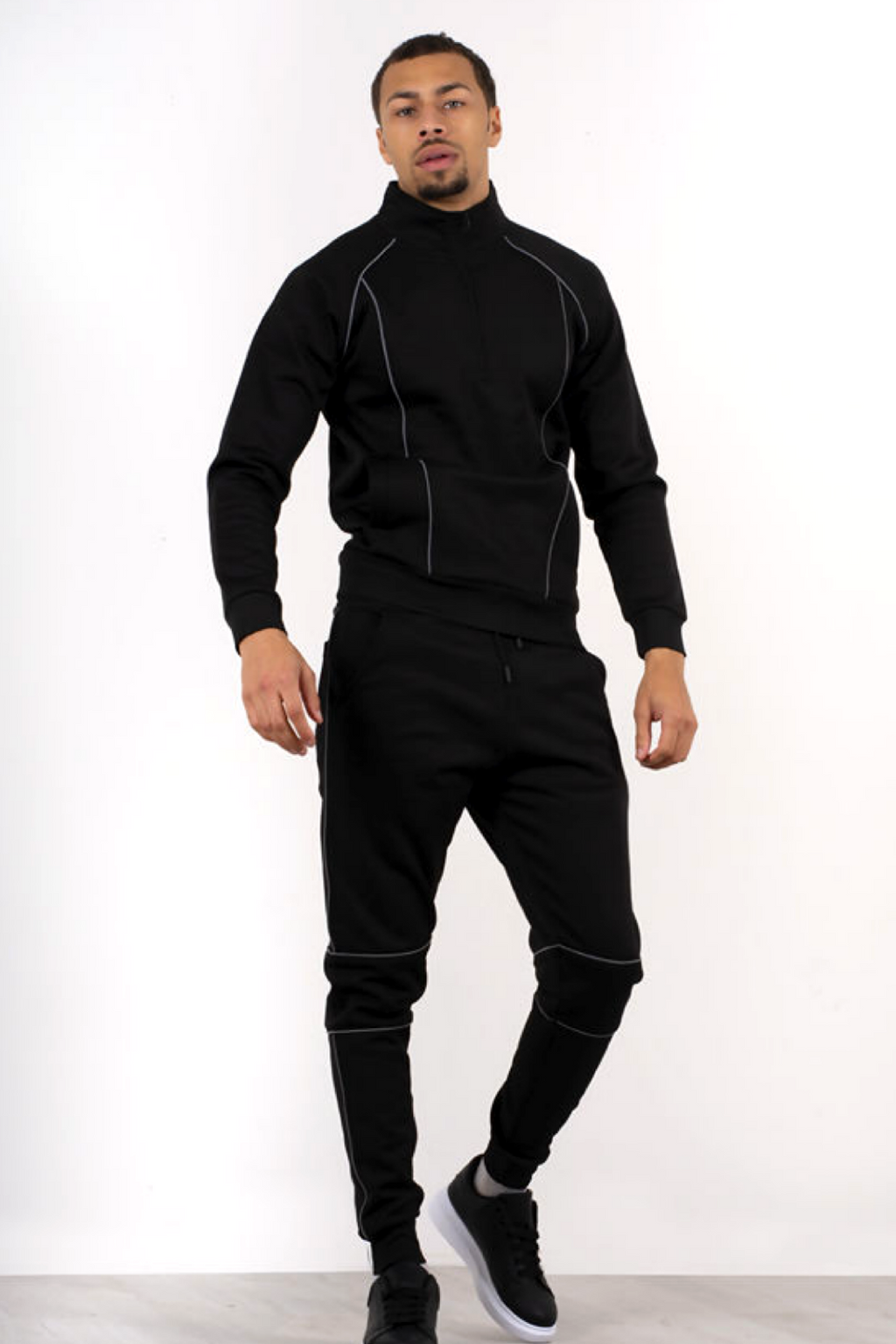 Aahron 'Deansgate' Black Reflective Funnel Tracksuit
