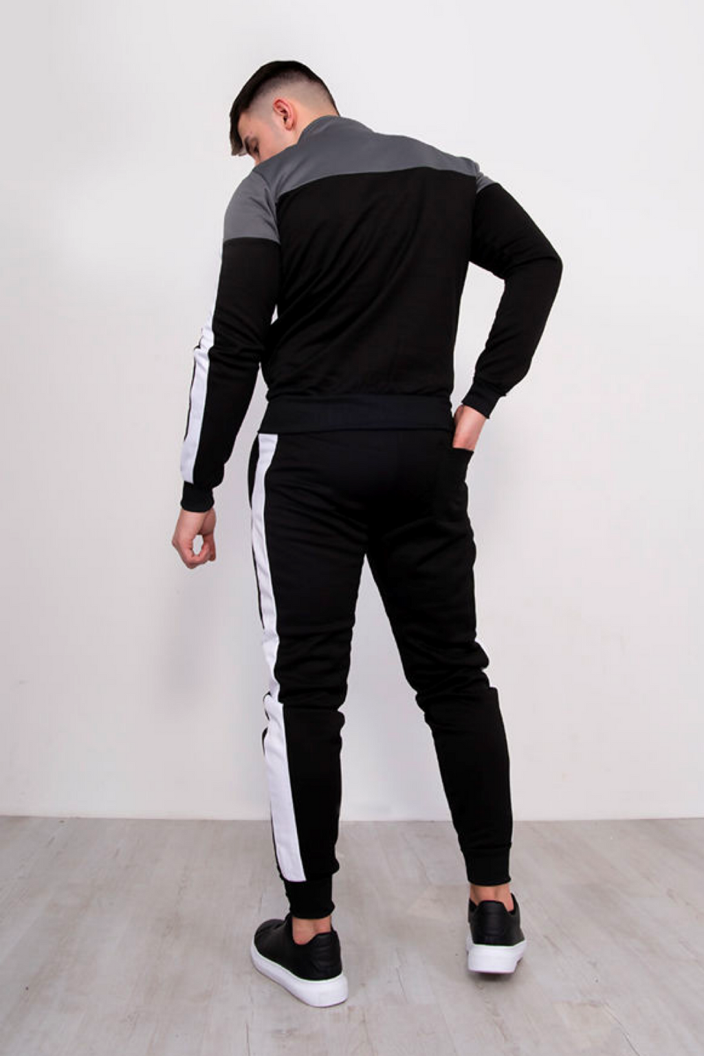 Aahron 'Stealth' Black Contrast Funnel Tracksuit