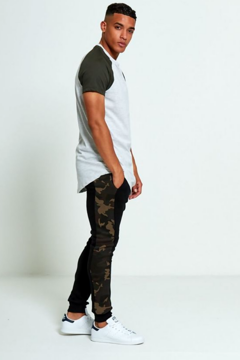 Aahron Black Camo Side Piped Jogger