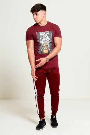 Aahron Burgundy Side Stripe Jogger