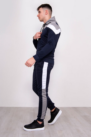 Aahron Navy 'Monaco' Chevron Tracksuit (LARGE ONLY)