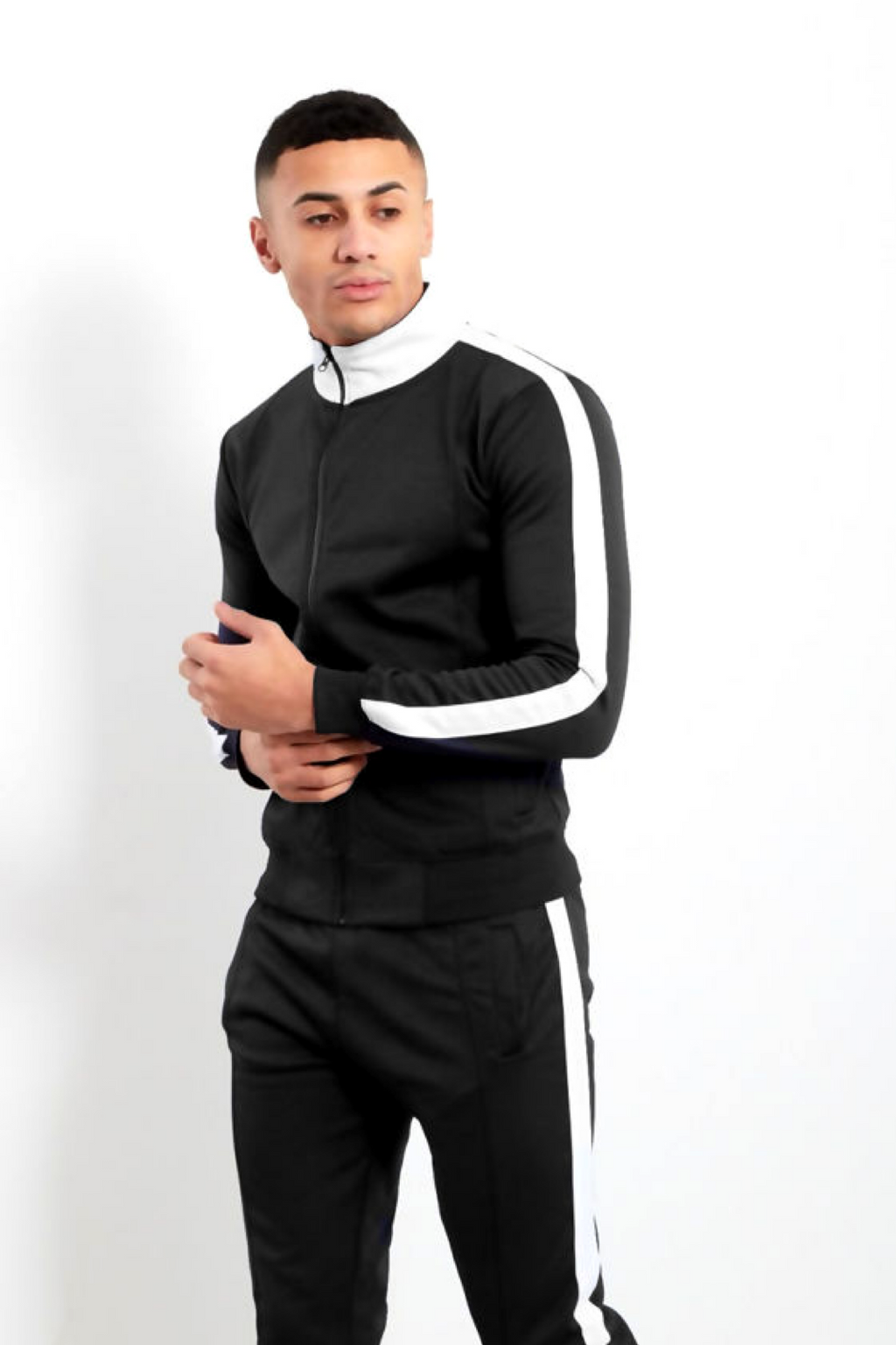 Aahron 'Deansgate' Black Pintuck Funnel Tracksuit