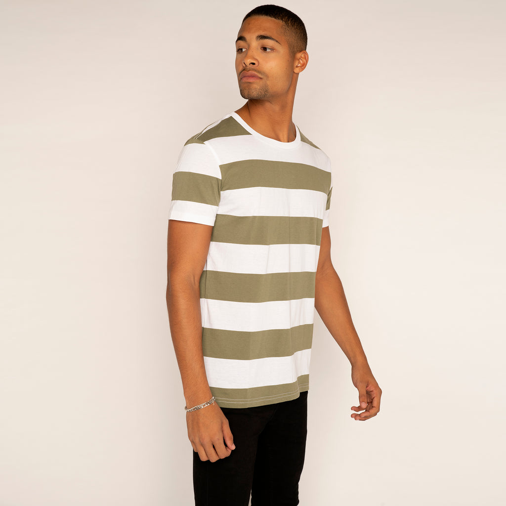 Weekday Alex Stripe T Shirt Olive/White (LARGE ONLY)