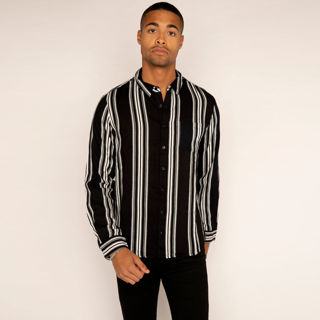 Another Influence Long Sleeved Resort Shirt Black (MEDIUM ONLY)