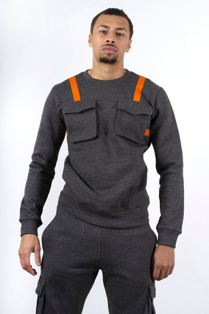 Aahron Cornell Tech Utility Crew Tracksuit Charcoal (LARGE ONLY)