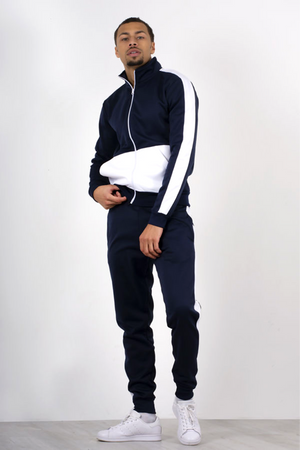 Aahron Navy 'Diego' Funnel Two Tone Tracksuit
