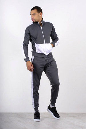 Aahron Grey 'Diego' Funnel Two Tone Tracksuit