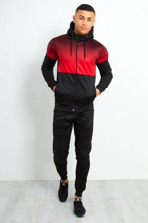 Aahron Red Ombré Two Tone Zip Through Tracksuit