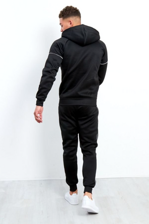 Aahron 'Lux' Black Side Piped Tracksuit