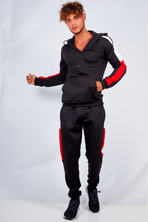 Aahron Black Half Zip Red Contrast Tracksuit (MEDIUM ONLY)