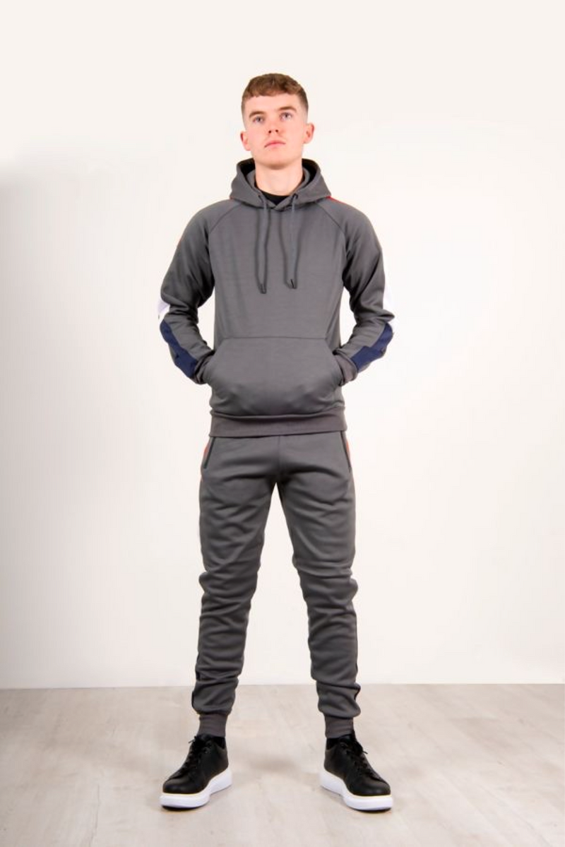 Aahron Steel Grey Contrast Panel Tracksuit