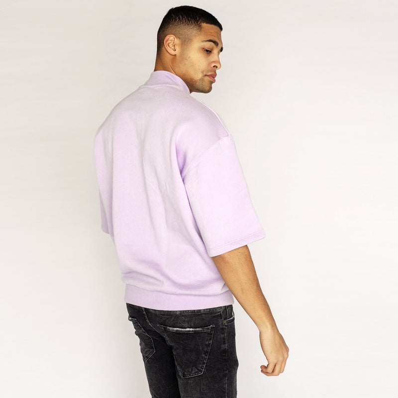 Design Lavender Oversized Short Sleeve Sweatshirt