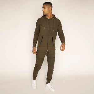 Khaki 'Hector' Ribbed Pintuck Tracksuit (Only Large Left)