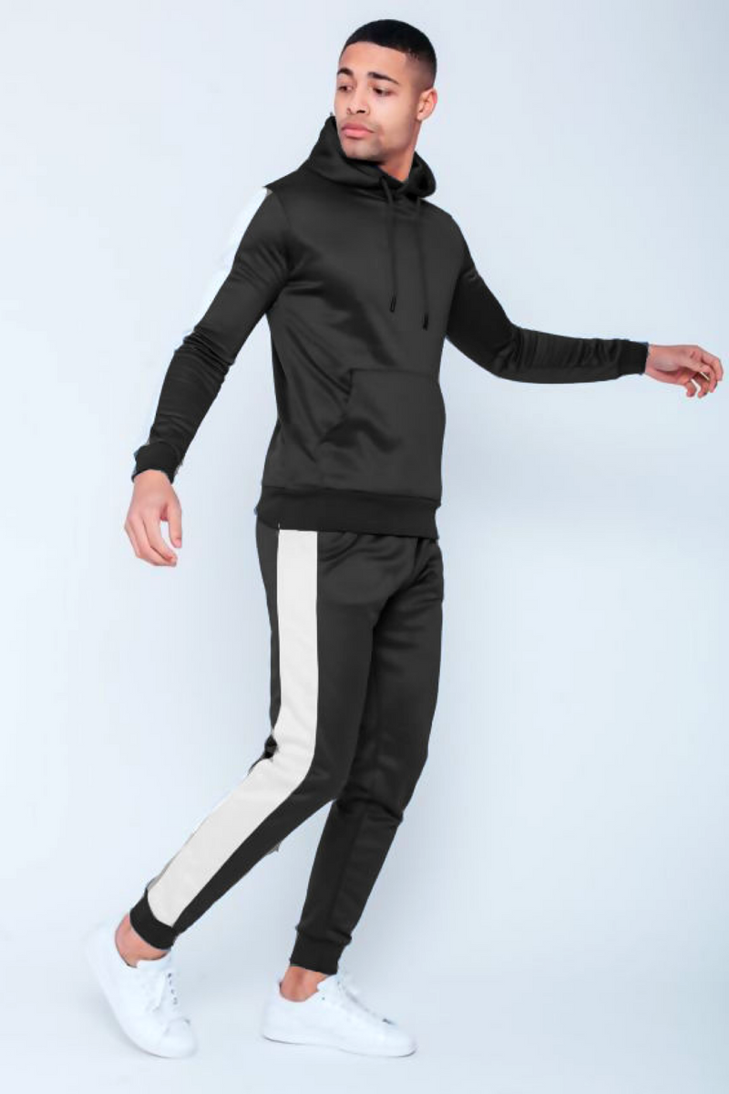 Aahron 'Lux' Black Side Piped Pullover Tracksuit