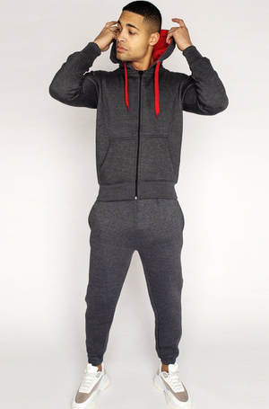 Charcoal 'Scope' Red Contrast Tracksuit (Only XL Left)