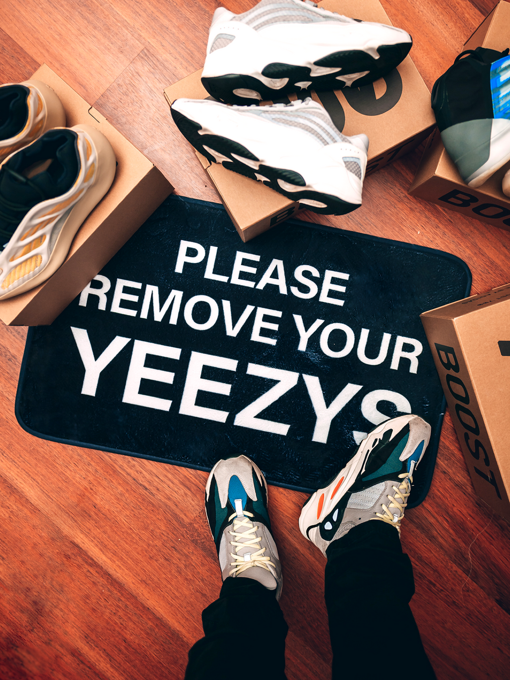 "PLEASE REMOVE YOUR ""YEEZYS"""