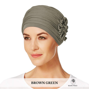 Christine Headwear Lotus Turban 338-Brown Green