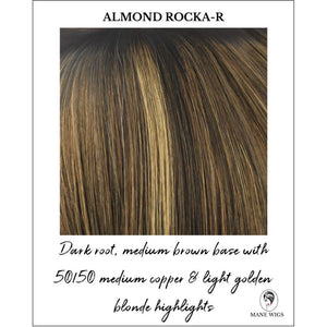 Almond Rocka-R-Dark root, medium brown base with 50/50 medium copper & light golden blonde highlights
