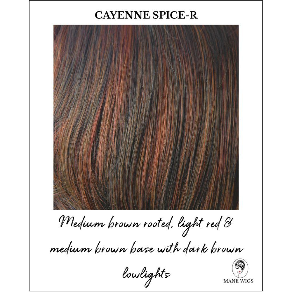 Cayenne Spice-R-Medium brown rooted, light red & medium brown base with dark brown lowlights