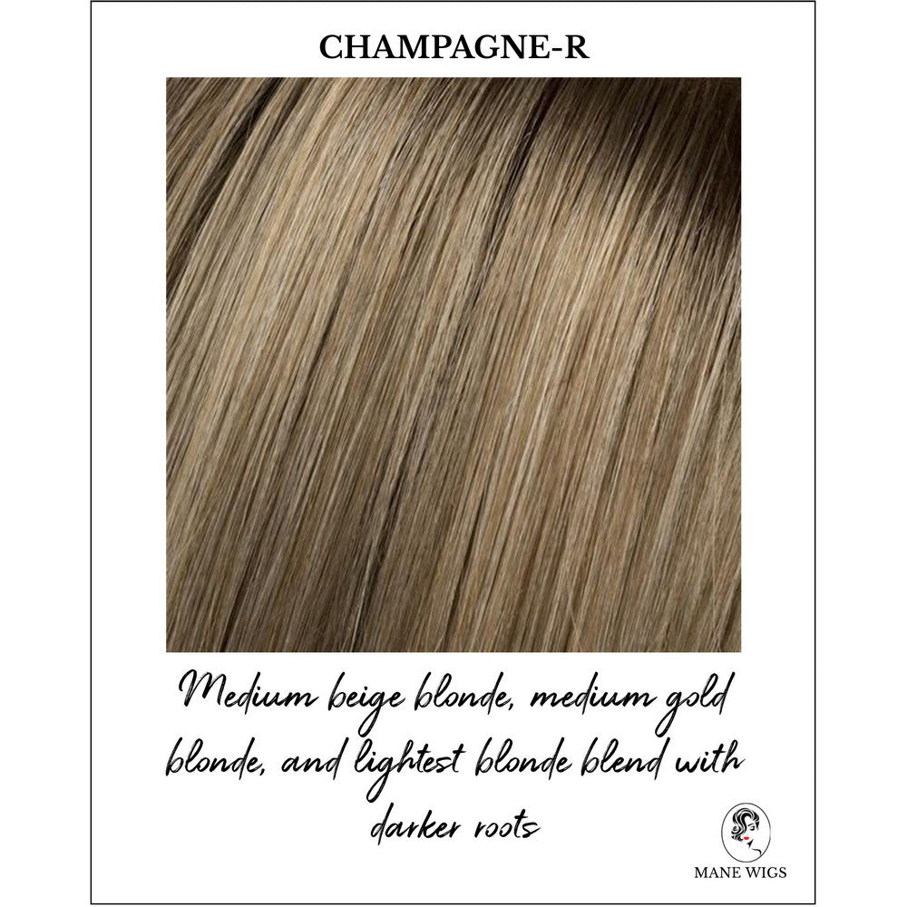 Champagne-R-Medium beige blonde, medium gold blonde, and lightest blonde blend with darker roots