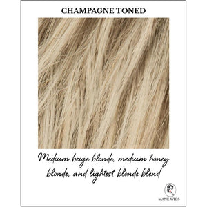 Champagne Toned-Medium beige blonde, medium honey blonde, and lightest blonde blend