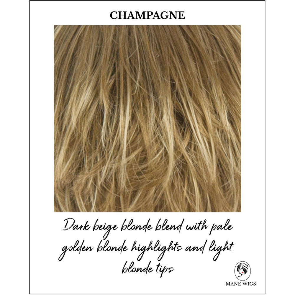 Champagne-Dark beige blonde blend with pale golden blonde highlights and light blonde tips