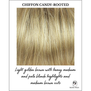 Chiffon Candy-Rooted-Light golden brown with heavy medium and pale blonde highlights and medium brown roots