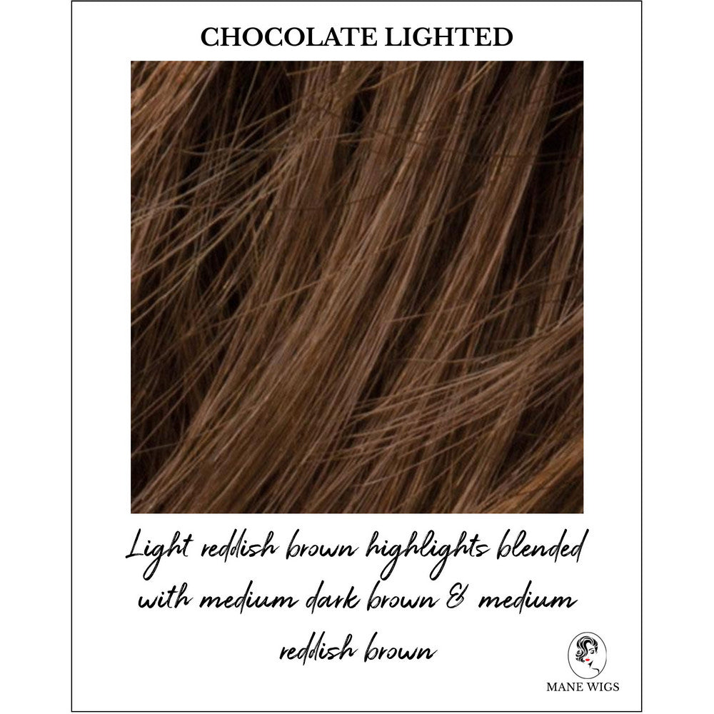 Chocolate Lighted-Light reddish brown highlights blended with medium dark brown & medium reddish brown