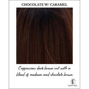 Chocolate with Caramel-Cappuccino dark brown root with a blend of medium and chocolate brown