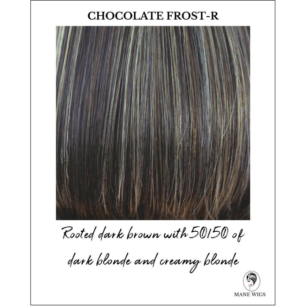 Chocolate Frost-R-Dark brown with 50/50 of dark blonde and creamy blonde