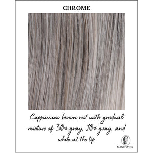 Chrome-Cappuccino brown root with gradual mixture of 30% gray, 10% gray, and white at the tip