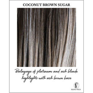 Coconut Brown Sugar-Balayage of platinum and ash blonde highlights with ash brown base