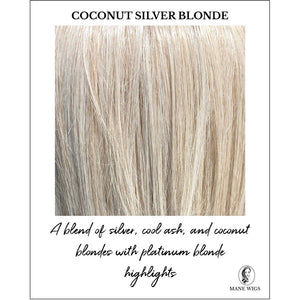 Coconut Silver Blonde-A blend of silver, cool ash, and coconut blondes with platinum blonde highlights