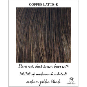 Coffee Latte-R-Dark root, dark brown base with 50/50 of medium chocolate & medium golden blonde