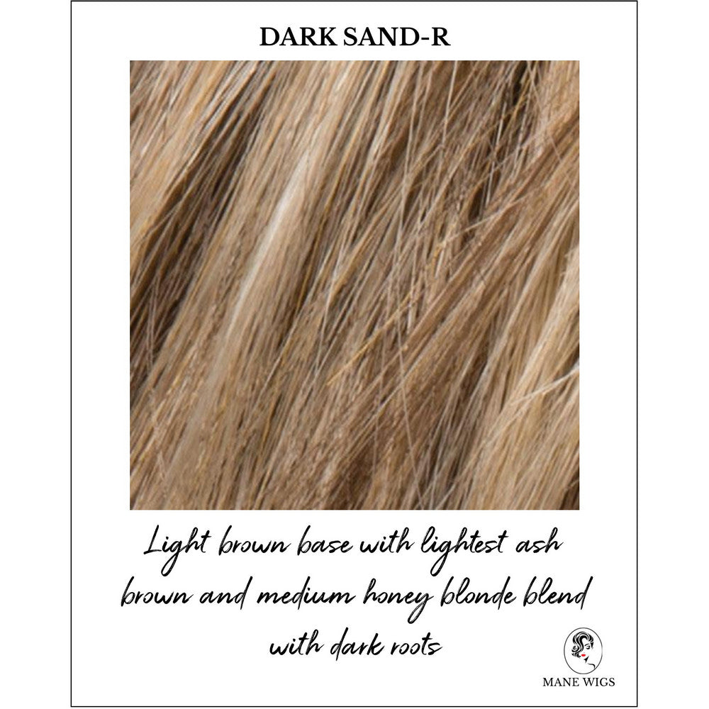 Dark Sand-R-Light brown base with lightest ash brown and medium honey blonde blend with dark roots