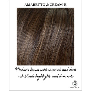 Amaretto & Cream Rooted - Medium brown with caramel and dark ash blonde highlights