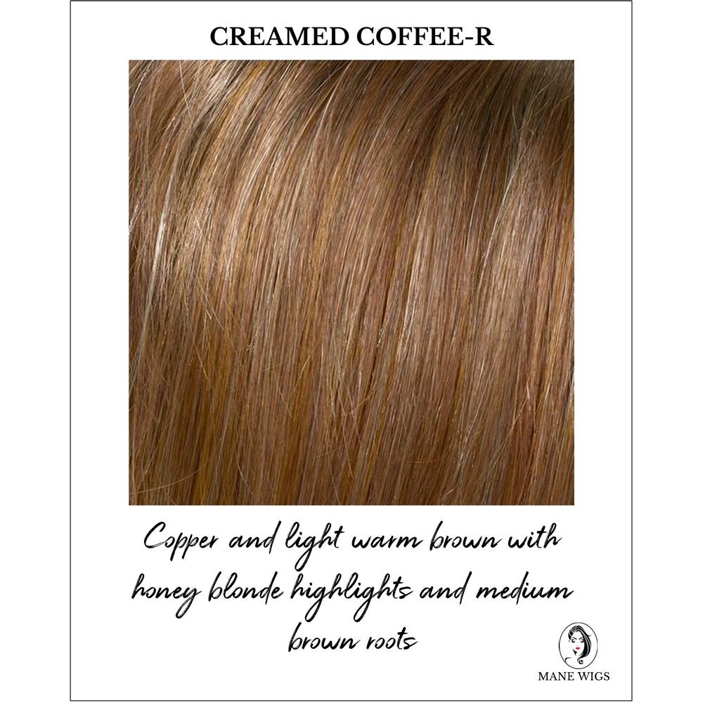 Creamed Coffee Rooted - Copper and light warm brown with honey blonde highlights and medium brown roots