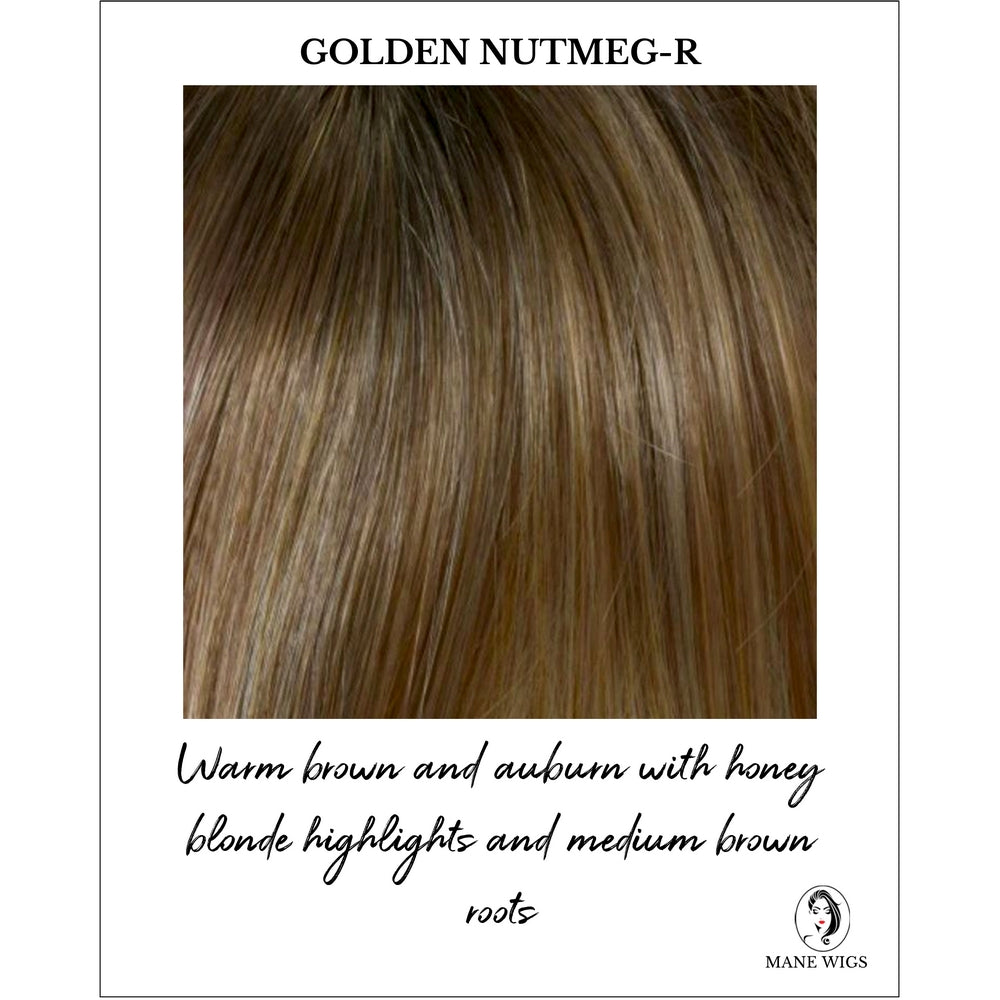 Golden Nutmeg Rooted - Warm brown and auburn with honey blonde highlights and medium brown roots