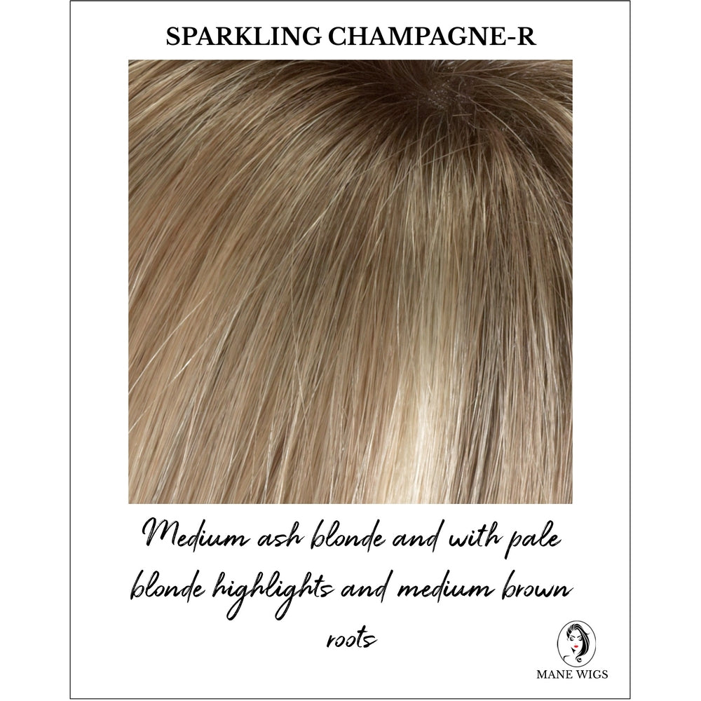 Sparkling Champagne Rooted - Medium ash blonde and with pale blonde highlights and medium brown roots