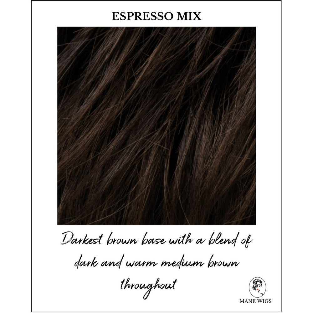 Espresso Mix-Darkest brown base with a blend of dark brown and warm medium brown throughout