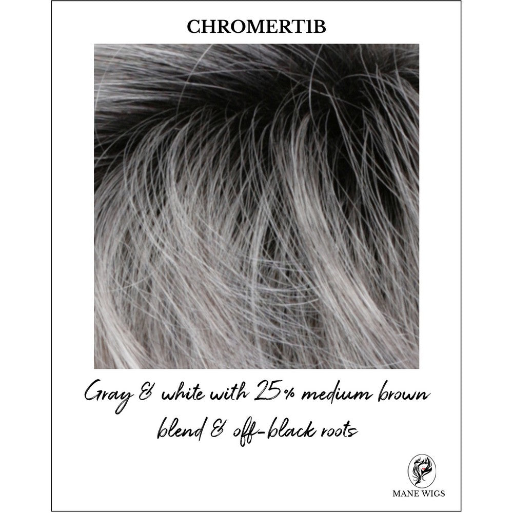 CHROMERT1B-Gray & white with 25% medium brown blend & off-black roots