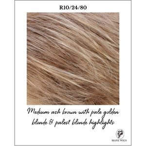 R10/24/80-Medium ash brown with pale golden blonde & palest blonde highlights