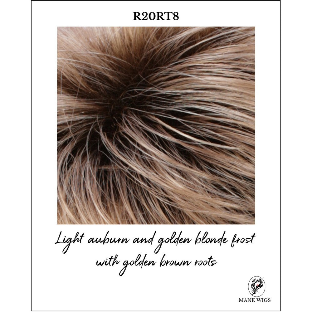 R20RT8-Light auburn and golden blonde frost with golden brown roots
