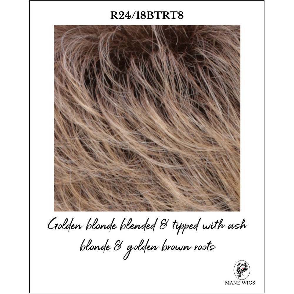 R24/18BTRT8-Golden blonde blended & tipped with ash blonde & golden brown roots