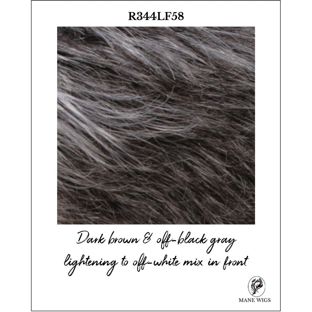 R344LF58-Dark brown & off-black gray lightening to off-white mix in front