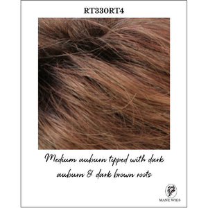 RT330RT4-Medium auburn tipped with dark auburn & dark brown roots