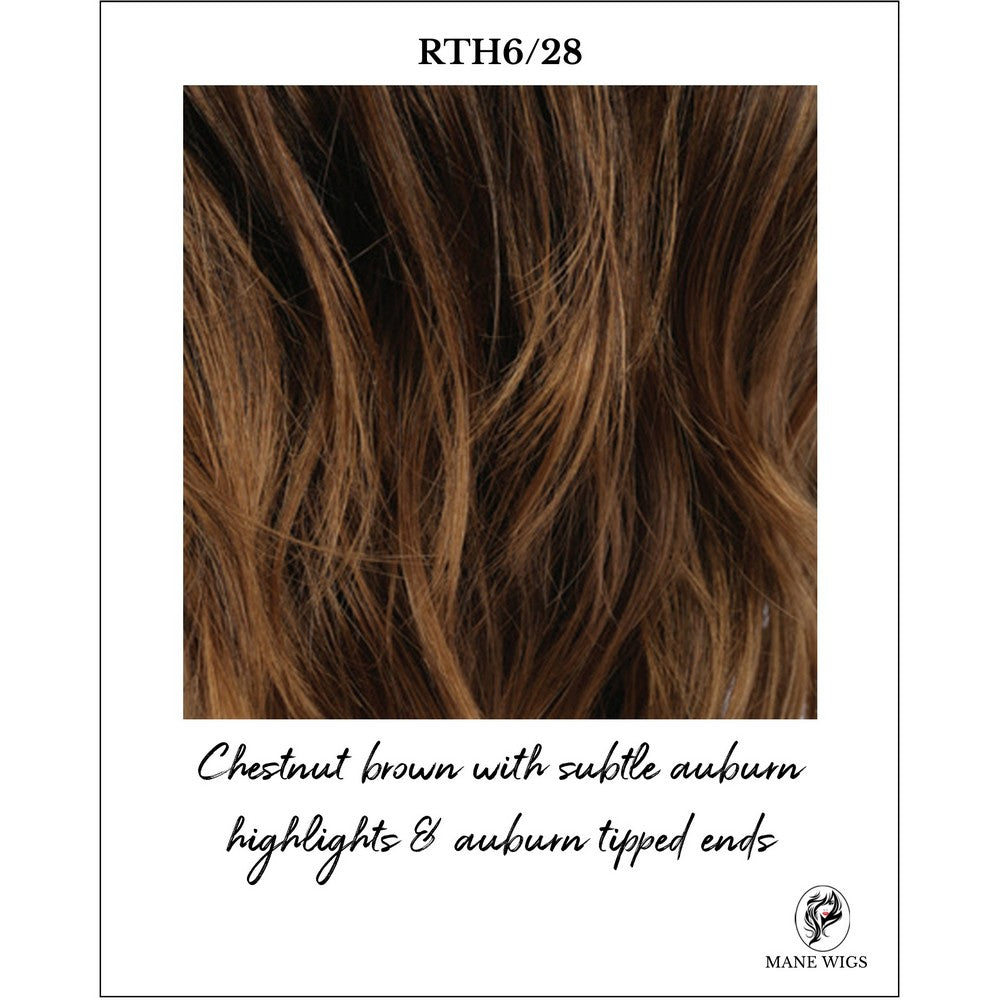 RTH6/28-Chestnut brown with subtle auburn highlights & auburn tipped ends